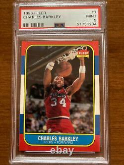 1986 Fleer Basketball #7 Charles Barkley RC Rookie 76ers PSA 9 Brand New Case