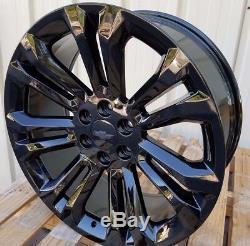22 Chevy Silverado Wheels Tahoe Glossy Black GMC Denali Sierra Cadillac Rims