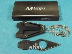 4.25 MTECH USA GRENADE NECK DOUBLE EDGE FIXED BLADE BLACK KNIFE w Sheath New