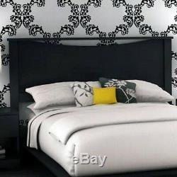 4 Piece Black Queen Full Bedroom Furniture Set Bed Storage Dresser Nightstand