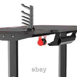 55 inch Computer Desk Gaming Table Racing Style Home Office Ergonomic Black