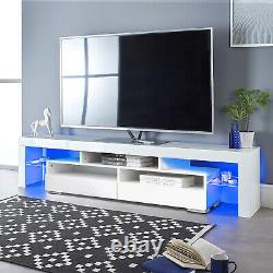 63 TV Stand Unit Cabinet Console Table with LED Shelve 2 Drawer Furniture White
