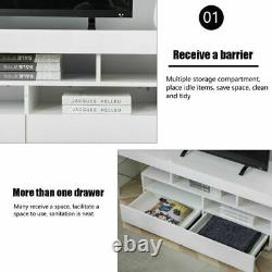 70 High Gloss TV Unit Cabinet Stand withLED Light Shelves Drawers Home Furniture
