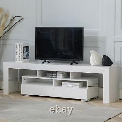 70 TV Stand Unit Cabinet with LED Shelves 2 Drawer Console Furniture White