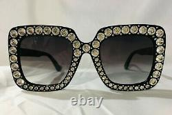 Authentic New Gucci GG0148 S 001 Sunglasses Crystal Black Frame