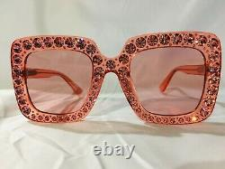 Authentic New Gucci GG0148S Sunglasses Crystal Pink Frame Lens