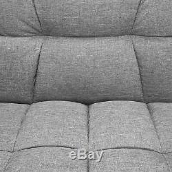 BCP Convertible Linen Tufted Futon with 2 Plush Pillows, Split-Back Design