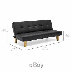BCP Faux Leather Convertible Futon Sofa Bed with Wood Frame