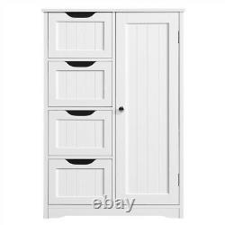 Bathroom Floor Cabinet Wooden Free Standing Storage Organizer with 4 Drawers White