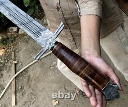 Beautiful Custom Handmade 30.0 Damascus Steel New Hunting Sword With Sheath