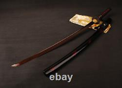 Blood Red Damascus Folded Steel Katana Battle Ready Japenese Samurai Sharp Sword