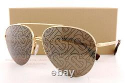 Brand New Burberry Sunglasses BE 3113 1017P2 Gold/Brown Tampo Tb Burberry Women