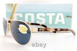 Brand New Costa Del Mar Sunglasses FERNANDINA Brushed Gold Gray 580P Polarized