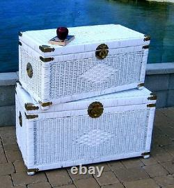 Brand New Handwoven Wicker Treasure Chest Storage Trunk (2 Sizes)