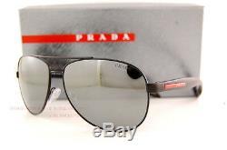 Brand New Prada Sport Sunglasses PS 53P 53PS 1BO/7W1 BLACK/GRAY/SILVER MIRROR