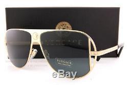 Brand New VERSACE Sunglasses VE 2212 100287 Gold/Gray For Men