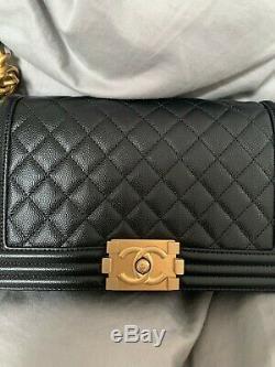 CHANEL New Medium Boy Bag In Black Caviar Gold HardwareBRAND NEW ORIGINAL $5400