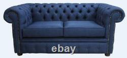 Chesterfield Brand New 2 Seater Charles Midnight Blue Sofa Settee Couch UK