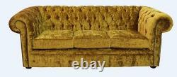 Chesterfield Brand New 3 Seater Modena Gold Velvet Fabric Sofa Settee Couch