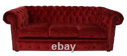 Chesterfield Brand New 3 Seater Modena Pillarbox Red Velvet Fabric Sofa Settee