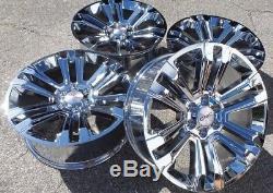 Chrome GMC Sierra Denali Wheels Rims Yukon 22 Chevy Silverado Tahoe Avalanche