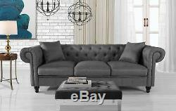 Classic Fabric Sofa Scroll Arm Tufted Button Chesterfield Couch, Light Grey