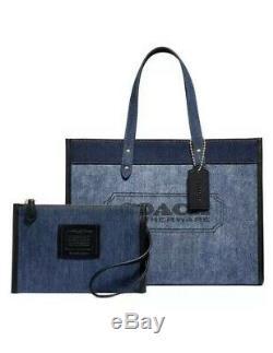Coach Branded Denim & Leather Field Denim/Gold Tote In Original Packaging
