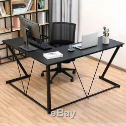 Computer Gaming Office Home Desk L-Shaped Workstation Laptop Metal Table Black