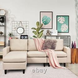 Convertible Sectional Sofa Couch Fabric L-Shaped Couch withReversible Chaise Beige