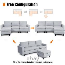 Convertible Sectional Sofa Couch Fabric L-Shaped Couch withReversible Chaise Gray