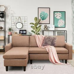 Convertible Sectional Sofa Couch Linen L-Shaped Couch withReversible Chaise Coffee