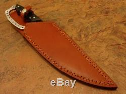 Custom Handmade D-2 Tool Steel Black Micarta Full Tang Hunting Bowie With Sheath