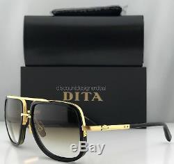 DITA MACH ONE Square Sunglasses Black 18K Gold Brown Gradient DRX-2030B-59