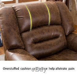 Electric Power Recliner Chair Traditional Brown Breathable Bonded Leather Sofa