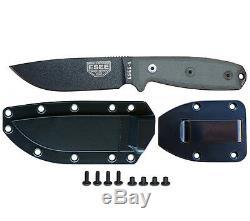 Esee Model 4 Knife Plain Edge Black Finish Sheath and Belt Clip Plate Esee 4P