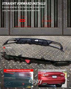 Fit for 18-20 Accord Sport&Touring 4DR Rear Fin Diffuser Gloss Black withLED Brake