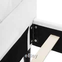 Full Size PU Leather Metal Bed Frame Button Tufted Mattress Platform White