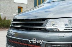 Für VW T5 GP Kühlergrill Front Sport Grill Schwarz Chrom-Rippen ohne Emblem 09