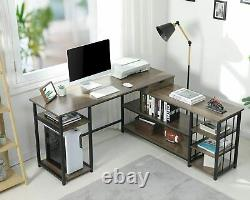 Gaming Desk Computer Desk Studying L-Shaped Table with Storage Shelve CPU Stand