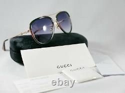 Gucci Aviator Sunglasses GG0062S 003 Gold/Green/Red 57mm 0062