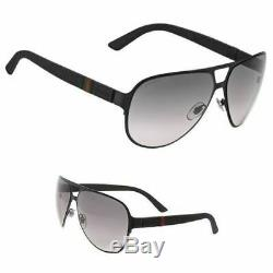 Gucci Men's Sunglasses GG2252 M7A Black Matte/Grey Lens Aviator 62mm Authentic