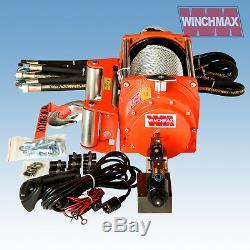 HYDRAULIC WINCH 20000 lb WINCHMAX ORIGINAL ORANGE WINCH WITH STEEL ROPE