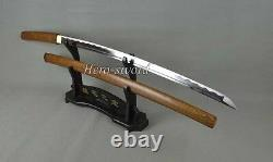 Handmade Hulee wood Shirasaya Samurai Katana Sword 1095 Carbon Steel Blade Sharp