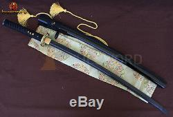 Handmade Japanese Samurai Katana Sword Black Folded Steel Sharp Blade Full Tang