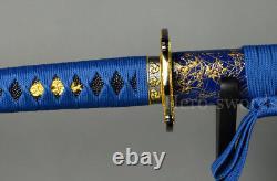 Handmade Special Blue Color 1095 High Carbon Steel Japanese Samurai Katana Sword