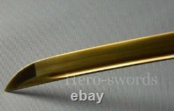 Handmade T1095 High Carbon Steel Gold Blade Japanese Samurai Katana Sword Sharp