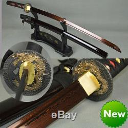 Handmade damascus folded steel Japanese samurai sword blood red blade katana