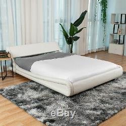 King/Queen/Full PU Leather Platform Bed Frame Upholstered Headboard & Wood Slats