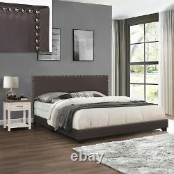 King Size Upholstered Bed Frame With Wood Slats Platform Headboard Bed, Charcoal