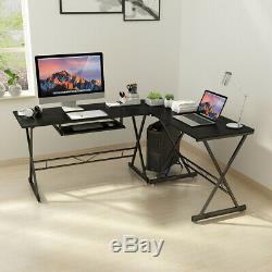 L-Shaped Corner Computer Gaming Desk Study Workstation CPU Stand & Keyboard Tray